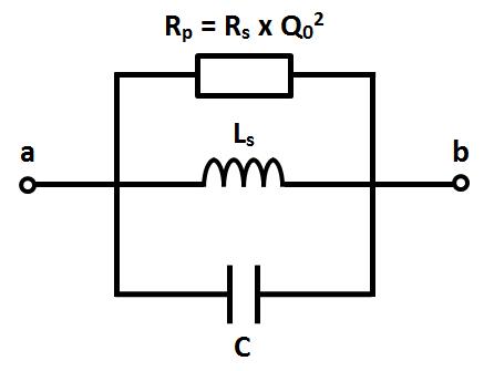 RLC parallèle équivalent, schéma