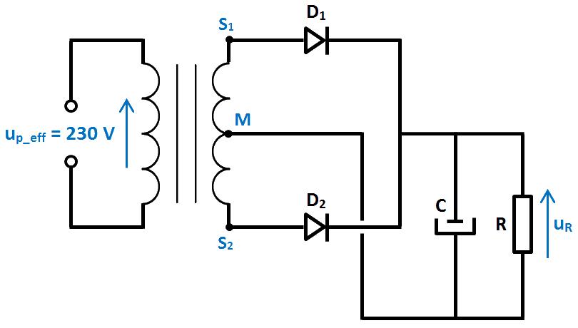 schéma redressement 2 diodes et condensateur