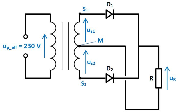 schéma redressement 2 diodes