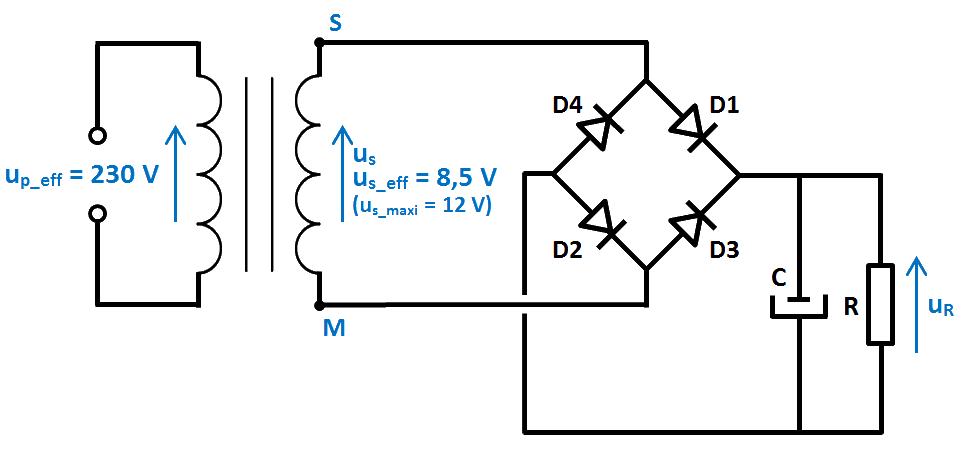 schéma redressement 4 diodes et condensateur