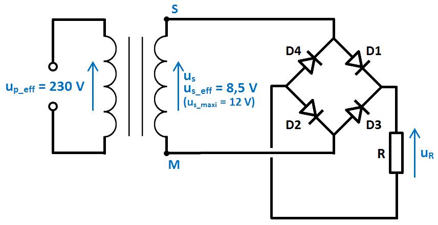 schéma redressement 4 diodes