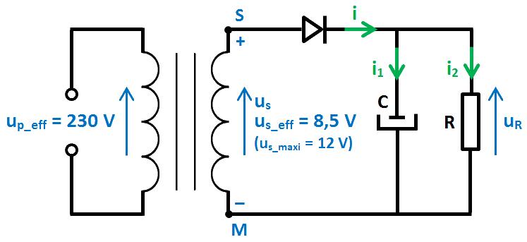 schéma redressement 1 diode + 1 condo